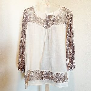 A'reve Cream & Brown Lace Detail Blouse   667